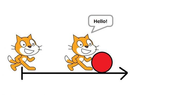 Scratchプログラミング初級2「モノにぶつかった時にハロー!させよう♪」